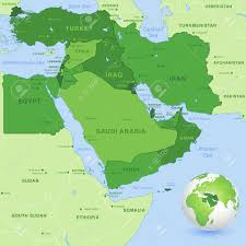 Middle East Map by High Detail Map Of The Middle East Zone With A 3d Globe Centered