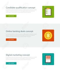 graphic design online qualification website headers or promotion banners templates and flat icons