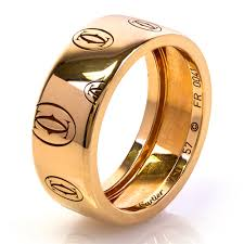 cartier rings gold images Second hand cartier mens 18ct yellow gold logo ring mwt 20 t h jpg