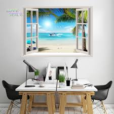 compare prices on mural tropical window online shopping buy low 2016 hot huge 3d window wall sticker tropical beach sea gull palm ship decal mural wall