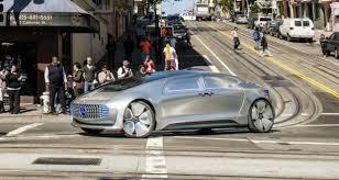 mercedes autonomous car through the streets of san francisco in a driverless car