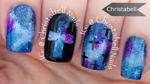 christabellnails galaxy and crosses nail art tutorial youtube