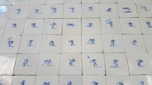 one of a kind set of original 17th century dutch wall tiles with