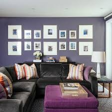 purple livingroom brown velvet sectional with purple pillows and sectional