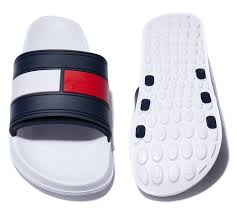 mens slides shoes tommy hilfiger logo slide sandal white