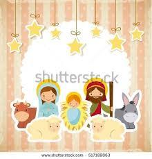 holy family traditional religious scene manger stock vector