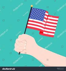 Country American Flag Human Hand Holding Flag Usa Country Stock Vector 693842038