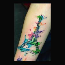 watercolor eiffel tower tattoo