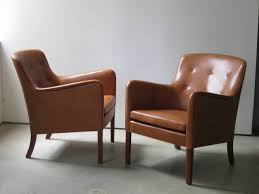 Scandinavian Design Armchair Pair Of 1940s Lounge Chairs In Nigerian Leather By Ole Wanscher