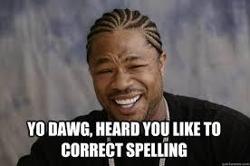 Spelling Meme - yo dawg heard you like to correct spelling xzibit meme quickmeme