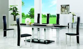 Planet Black Round Glass Dining Table Modenza Furniture - Black glass dining room sets