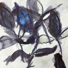 Japanese Flowers Paintings - ink wash and brush studies of plants and flowers inspired by the