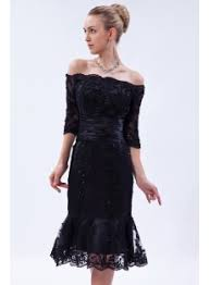 off shoulder black tea length lace wedding dress with sleeves