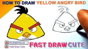 draw yellow angry birds step step easy fast draw cute