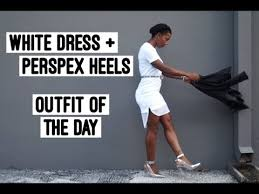 how to style perspex heels white dress ootd youtube