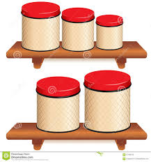 kitchen canister set on wood shelves stock vector image 61486318