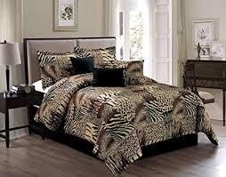 Giraffe Bedding Set 7 King Safari Micro Fur Comforter Set Zebra