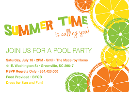 citrus invitations summer pool party lemon lime orange