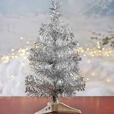 retro silver tinsel tree trees and toppers