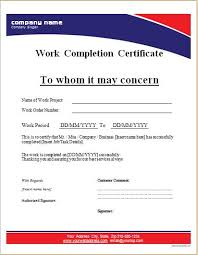 examples of certificates of completion work completion certificate templates for ms word word u0026 excel