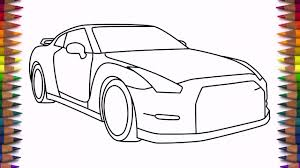 nissan gtr skyline drawing how to draw nissan gtr step by step drawing a car youtube