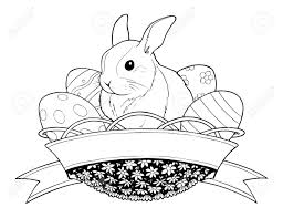 easter bunny rabbit in basket with eggs illustration isolated