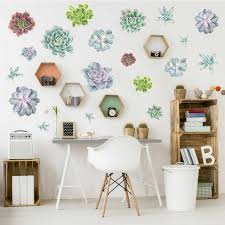 succulent variety watercolor wall decal kit