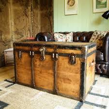vintage steamer trunk restored vintage leather trunk old steamer