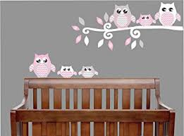 amazon com pink owl wall decals owl stickers owl nursery wall