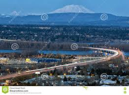 Map Oregon Washington State Stock by Interstate 205 Freeway Over Columbia River Blue Hour Stock Image