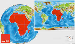 map world africa physical location map of africa within the entire world