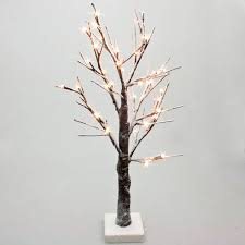 battery operated snowy twig tree with warm white led s 60cm