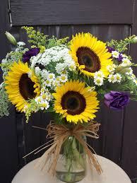 bouquet of sunflowers sunflower jar