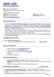 Resume For Mechanical Engineer Resume Planning Engineer