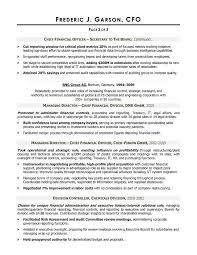 cfo report template cfo resume exles exles of resumes