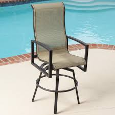 High Back Sling Patio Chairs Exterior High Back Sling Patio Bar Stool With Black Iron Swivel