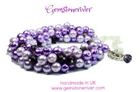 chunky pearl crystal necklace images Lilac light purple pearls and amethyst crystal chunky bib jpg