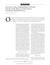 meters squared overview of the epidemiology of obesity and the early history of