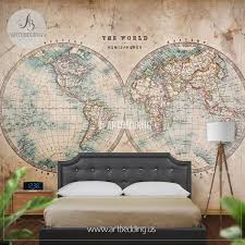wall murals wall tapestries canvas wall art wall decor tagged genuine stained world map from mid 1800 s hemisphere wall mural self adhesive peel stick