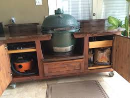 design big green egg table w plenty of storage and