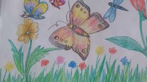 how to draw beautiful drawing how to draw beautiful butterflies in a garden