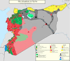 Middle East Political Map by Groups In Control Of Syria Assad Loyals Fsa Kurds Isis