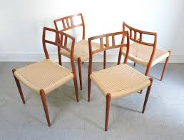 Solid Teak Dining Table Set Of 4 Danish Modern Niels Moller Teak Dining Chairs 79 For