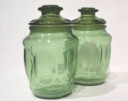 glass kitchen storage canisters vintage glass jar etsy