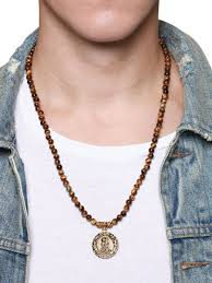 beaded necklace pendants images Men 39 s beaded necklace with brown tiger eye and buddha amulet jpg