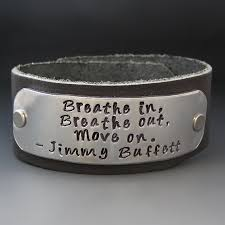 jimmy buffett leather cuff bracelet breathe in breathe out