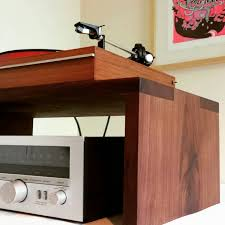 Record Player Storage Solid Walnut Record Player Table Shelf And Lp Holder For