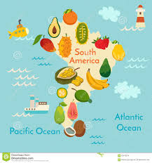 America World Map by Fruit World Map South America Stock Vector Image 62418224