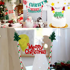 banner cake topper merry christmas string cake topper flag banner bunting cake decor