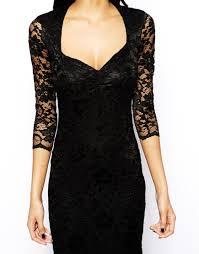 john zack lace midi dress with sweetheart neckline in black lyst